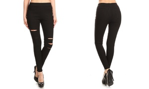 Women's High-Waist Pull-On Ripped Skinny Jeggings. Also in Plus Sizes.