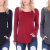 Scoop Neck Long-Sleeved Women's Tunic Top