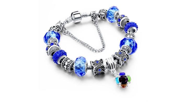 f3cf40bdaf Crystal Ball Charm Bracelet made with Swarovski Elements | Groupon