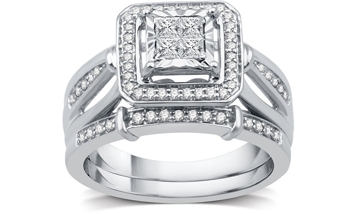 Groupon 1 2 Cttw Diamond Princess Cut Bridal Set In Sterling Silver By Decarat