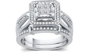 1/2 CTTW Diamond Princess Cut Bridal Set in Sterling Silver by DeCarat