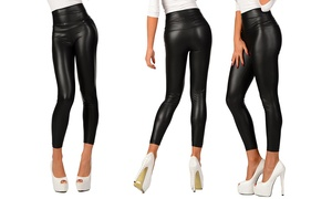 (Mode)  Leggings femme simili cuir stretch -80% réduction