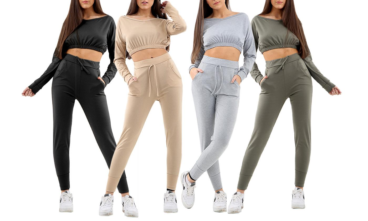 Two-Piece Crop Top and Drawstring Trousers Tracksuit
