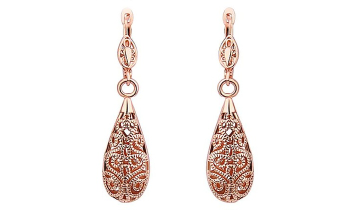 14 Carat Rose Gold Drop Earrings