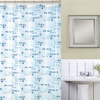 Indecor Typography Shower Curtain with Liner and Roller Hooks