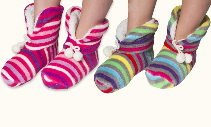 Women's High-Cuff Slipper Bootie Socks (2-Pack)