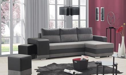 Canapé dangle réversible et convertible en lit, bicolore et bimatière, coloris au choix, livraison offerte