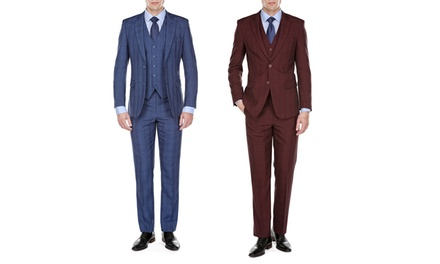 Gino Vitale Men's Plaid Check Modern-Fit Suits (3-Piece)