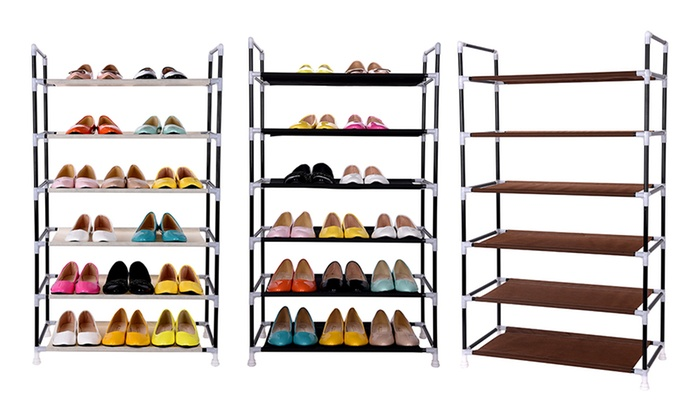 canvas shelved shoe storage unit groupon goods