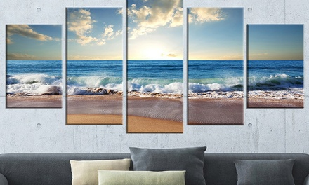5-Panel Seashore Photography on Gallery-Wrapped Canvas