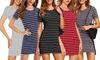 Women's Short Sleeve Striped Dress