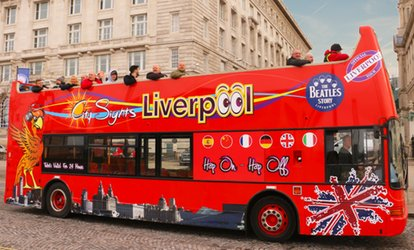 image for Hop-On-Hop-Off Guided Beatles Tour for Two Adults or a Family of Five with Liverpool City Sights (Up to 53% Off)