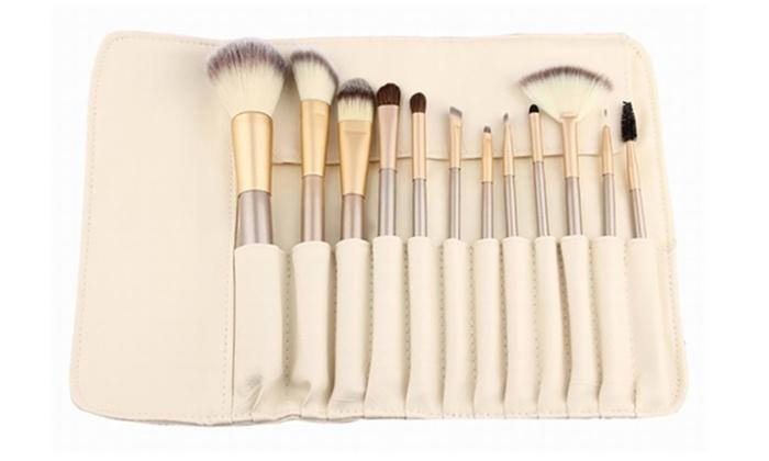 Professional Makeup Brush Set With Storage Case (13 Piece)