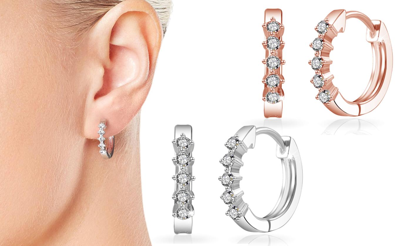 One, Two or Three Pairs of Philip Jones Hoop Earrings with Crystals from Swarovski®