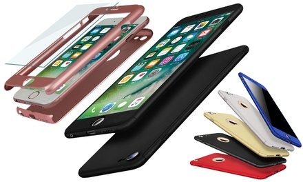 Hybrid Shockproof Case for iPhone with Tempered Glass Cover