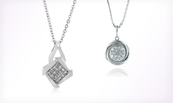 Diamond-Accented Pendant Necklaces: $20.99 for a Diamond-Accented Pendant Necklace ($165 List Price). Two Options Available. Free Shipping and Returns.
