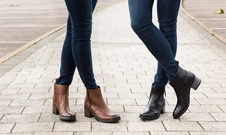 Women's Leather Zip Ankle Boots in Tan or Black for £39.98 With Free Delivery (80% Off)