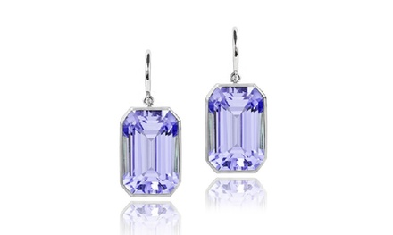 5.00 CTW Emerald Shaped Genuine Amethyst Drop Earrings in Sterling Silver