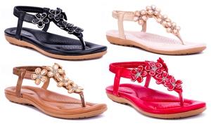 Rasolli Women's Kendra Comfort Thong Sandals with Flower Details