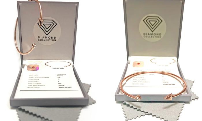 Groupon Goods Global GmbH: Braccialetto a freccia con diamante naturale e cristallo Swarovski®