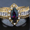 1.12 CTTW Marquise Rainbow Topaz Ring in 18K Gold Plating