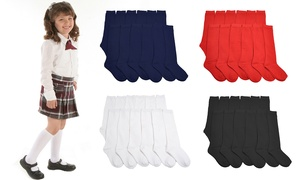 Women's and Kids Cotton Uniform Knee-High School Socks (12-Pairs)
