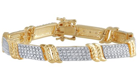 14K Gold Plated Diamond Accent Bracelet by Brilliant Diamond