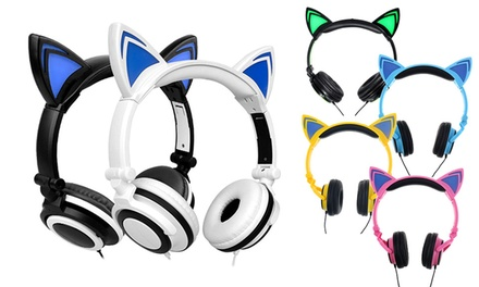 Auriculares con orejas de gato LED disponibles en 6 colores