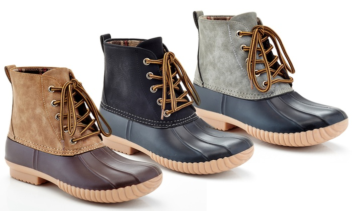 5e315b88161c Women s Lace-Up All-Weather Waterproof Rubber Duck Boots
