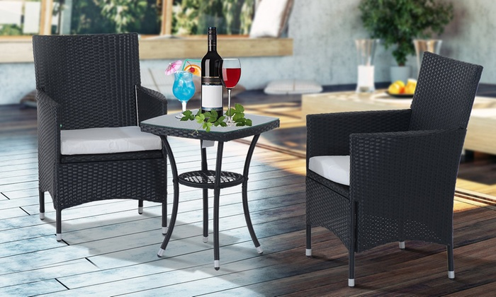 Outsunny Rattan-Effect Bistro Set