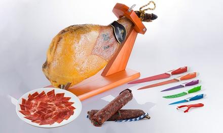 Serranohamschouder van 4 kg en Iberische worstjes, met messenset en DVD