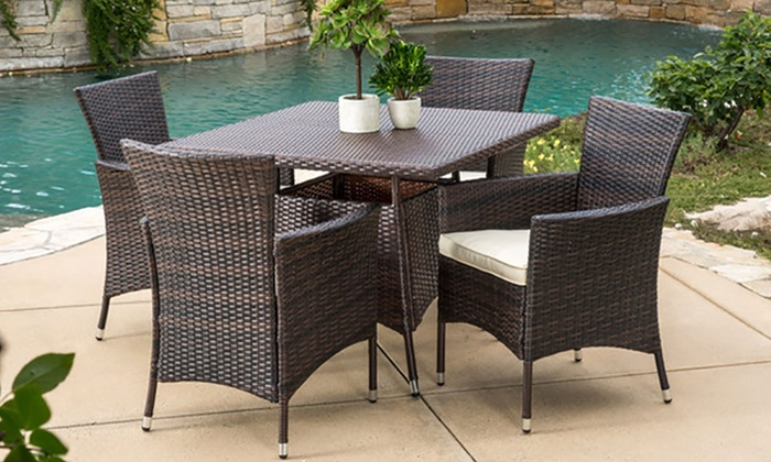 Clementine Outdoor Multi-Brown Wicker Square Dining Set (5