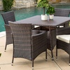 Clementine Outdoor Multi-Brown Wicker Square Dining Set (5-Piece)