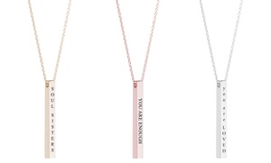 Pink Box Solid Stainless Steel Inspirational Bar Necklace