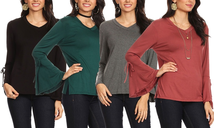 9f94673c12e Nelly Women s Bell Sleeve Top. Plus Sizes Available.