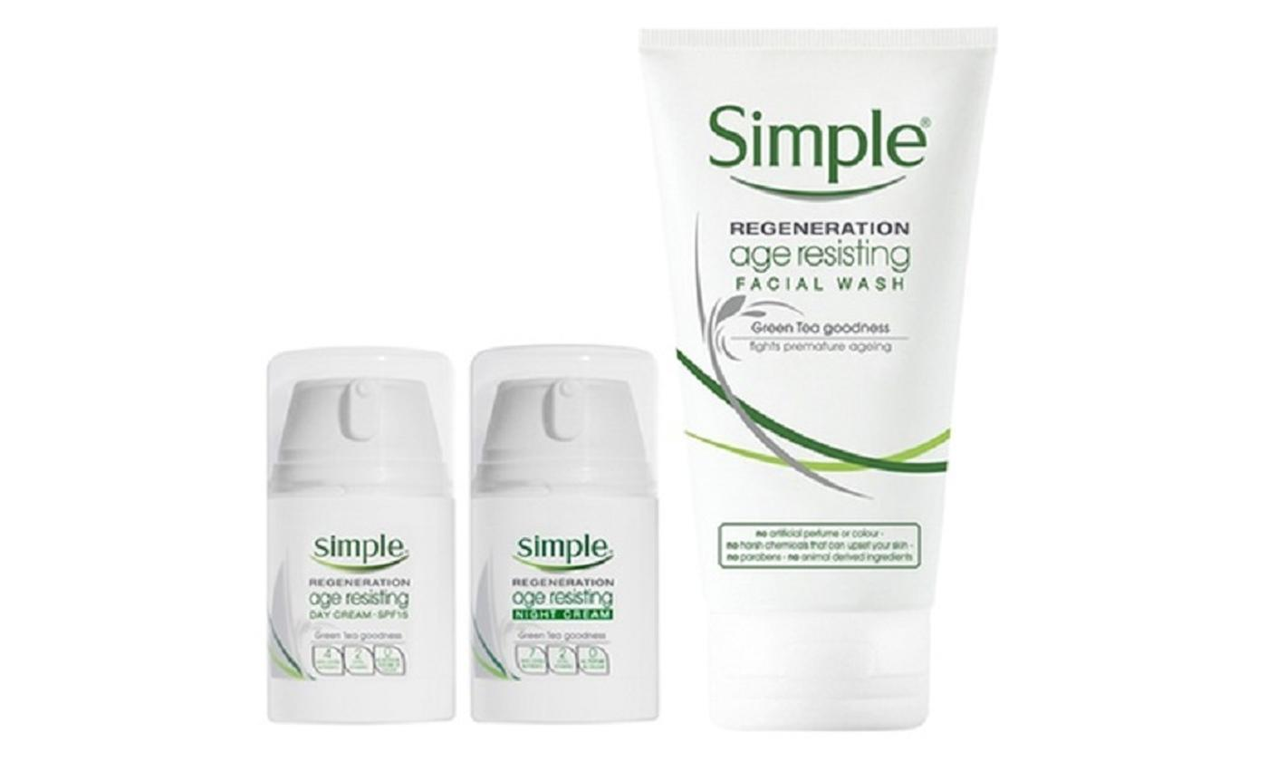 Simple Aging Skin Facial Wash, Day and Night Cream Bundle