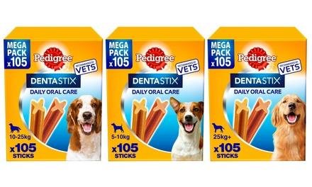 105 Pedigree DentaStix Dental Chews for Small, Medium or Large Dogs