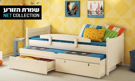 שמרת הזורע: מיטת ילדים/נוער משולבת עץ מלא, הכוללת מיטת חבר, 2 מזרנים אורתופדים, 2 מגירות ומעקה בטיחות