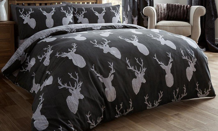 Winter Stag Duvet Cover Set in Choice of Colour and Size for £11