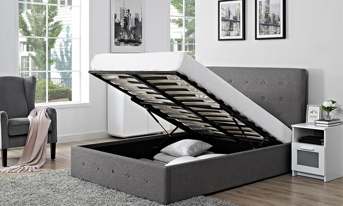 Verona Fabric Storage Ottoman Bed with Optional Mattress