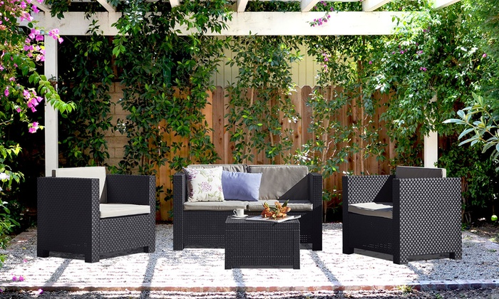 salon de jardin 4 places groupon shopping. Black Bedroom Furniture Sets. Home Design Ideas