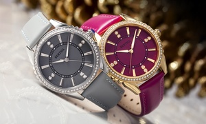 Bertha Clara Engraved Pattern Leather-Band Watch