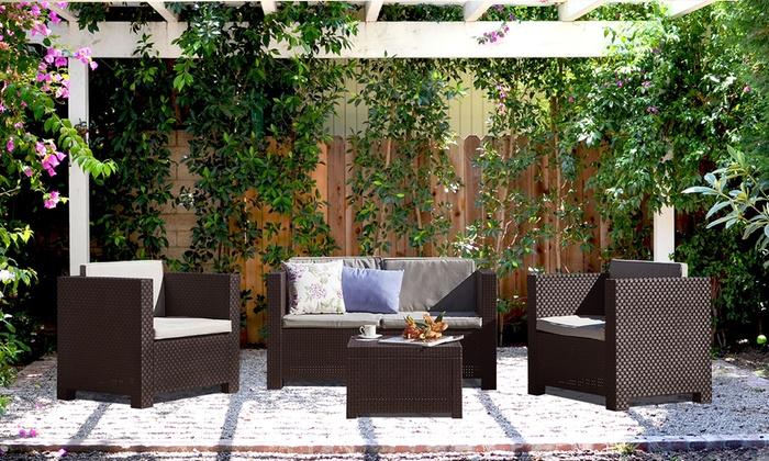salon de jardin aspect rotin tress taille et coloris au choix groupon shopping. Black Bedroom Furniture Sets. Home Design Ideas