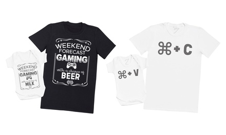 CMD or Weekend Forecast of Gaming Father and Baby Matching Set