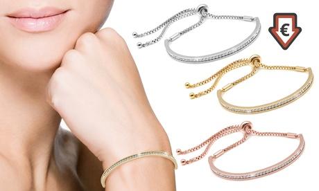 1 o 3 pulseras de la amistad The Gemsellerbañadas en oro de 18 ct. y decoradas con cristales de Swarovski®