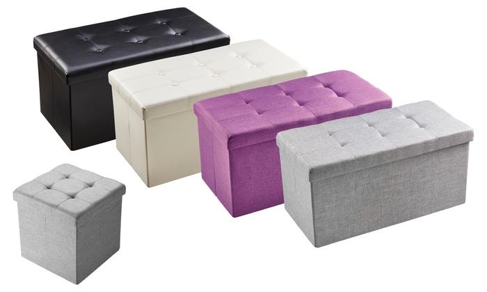 Faux Leather or Fabric Folding Ottoman Storage Box