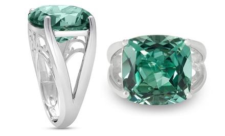 12.00 CTW Cushion Cut Green Amethyst Ring In Solid Sterling Silver
