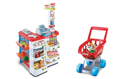 Kids' Supermarket and Shopping Trolley Play Set