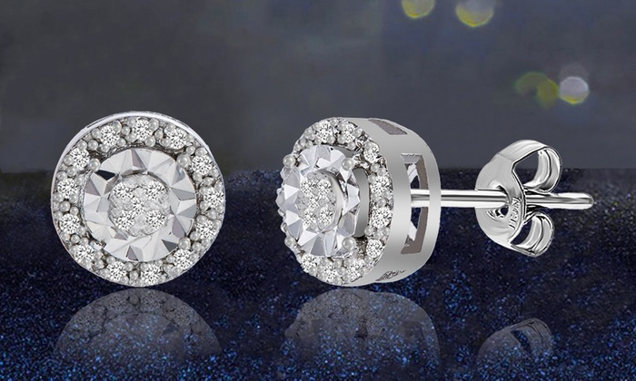 1 10 Cttw Diamond Stud Earrings In Sterling Silver