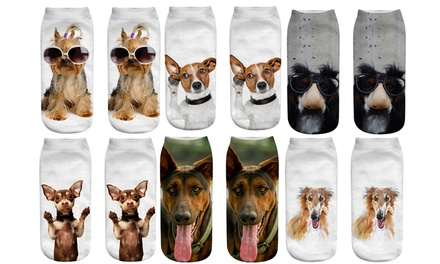 Two, Four or Six Pairs of Printed Dog Socks
